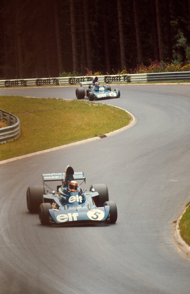 1973 German Grand Prix.Nurburgring, Germany.3-5 August 1973.Jackie Stewart (Tyrrell 006 Ford) 1st position followed by teammate Francois Cevert (Tyrrell 006 Ford).Ref-73 GER 06.World Copyright - LAT Photographic
