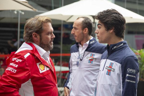 (L to R): Gino Rosato, Ferrari, Robert Kubica, Williams and Lance Stroll, Williams Racing