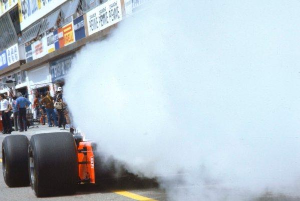 1983 San Marino Grand Prix.Imola, Italy.29/4-1/5 1983.A McLaren MP4/1C Ford blows its engine.Ref-83 SM 06.World Copyright - LAT Photographic