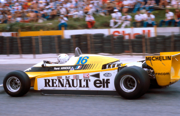 1980 South African Grand Prix.Kyalami, South Africa.28/2-1/3 1980.Rene Arnoux (Renault RE20) 1st position.Ref-80 SA 07.World Copyright - LAT Photographic