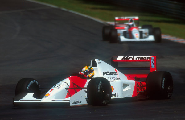 1992 German Grand Prix.Hockenheim, Germany.24-26 July 1992.Ayrton Senna (McLaren MP4/7A Honda) 2nd position, with teammate Gerhard Berger (McLaren MP4/7A Honda) behind.Ref-92 GER 04.World Copyright - LAT Photographic