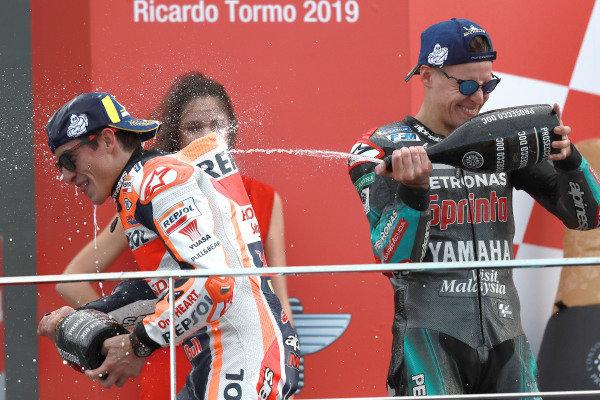Podium: race winner Marc Marquez, Repsol Honda Team, second place Fabio Quartararo, Petronas Yamaha SRT
