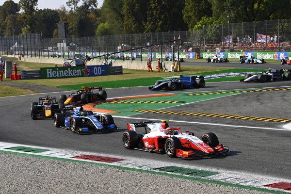 Oscar Piastri (AUS, Prema Racing), Guanyu Zhou (CHN, Uni-Virtuosi Racing), Liam Lawson (NZL, Hitech Grand Prix), and Jehan Daruvala (IND, Carlin)
