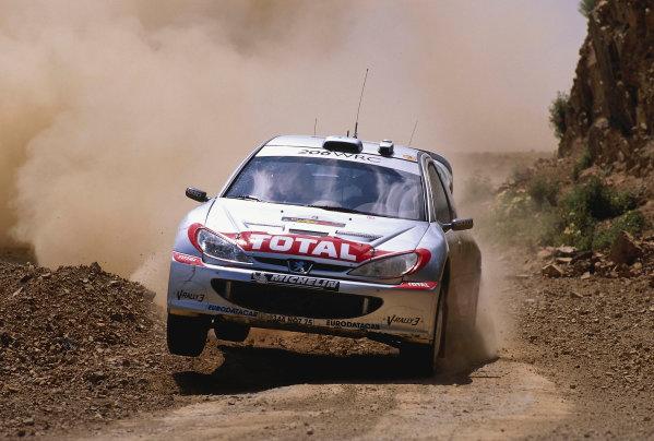 World Rally ChampionshipCyprus Rally, Cyprus. 18th - 21st April 2002. Harri Rovanpera / Risto Pietilainen, Peugeot 206 WRC, 4th position overall. World Copyright: McKlein/LAT Photographicref: 35mm Image A11