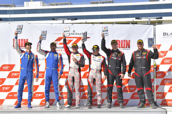 #17 Porsche 718 Cayman CS MR of Derek DeBoer and James Rappaport with TRG - The Racers Group  Casey Dennis and Jeff Bader  Chris Bellomo  and Kevin Woods  2019 Blancpain GT World Challenge America - Las Vegas, Las Vegas NV