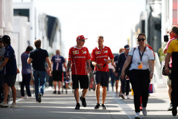 Hungaroring, Budapest, Hungary.  Friday 28 July 2017. Kimi Raikkonen, Ferrari, and Sebastian Vettel, Ferrari. World Copyright: Glenn Dunbar/LAT Images  ref: Digital Image _31I8979