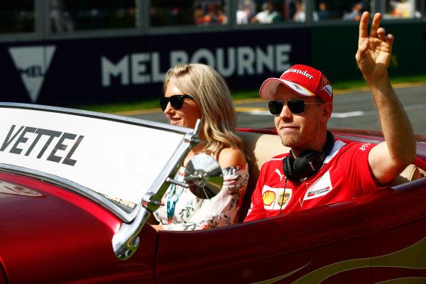 Albert Park, Melbourne, Australia. Sunday 26 March 2017. Sebastian Vettel, Ferrari, on the drivers' parade. World Copyright: Andy Hone/LAT Images ref: Digital Image _ONZ1510