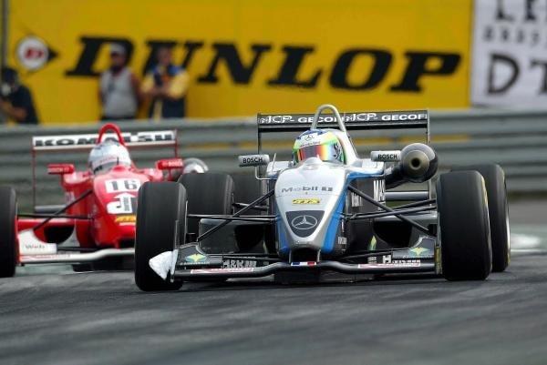 Alexandre Premat (FRA) ASM F3 Dallara Mercedes leads Robert Doornbos (NED) Team Ghinzani Dallara Mugen Honda.F3 Euro Series, Rd13 & Rd14, A1-Ring, Austria, 6 September 2003.DIGITAL IMAGE