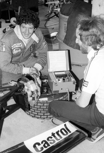 A Wolf mechanic uses a Castrol Vapour Lock Indicator on the Wolf WR5 of Jody Scheckter (RSA) (Left), who retired from the race on lap 37 with a broken gearbox.British Grand Prix, Rd 10, Brands Hatch, England, 16 July 1978.