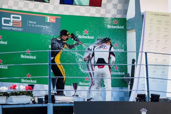 2017 GP3 Series Round 6.  Autodromo Nazionale di Monza, Monza, Italy. Sunday 3 September 2017. Jack Aitken (GBR, ART Grand Prix), George Russell (GBR, ART Grand Prix), Anthoine Hubert (FRA, ART Grand Prix).  Photo: Zak Mauger/GP3 Series Media Service. ref: Digital Image _56I8924