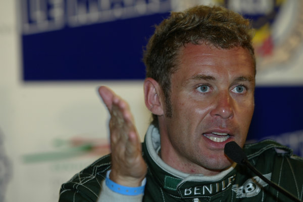 2003 Le Mans 24 HoursLe Mans, France. 12th June 2003Bentley's Tom Kristensen in a happy mood during the press conference, after setting pole position time for tomorrow's race.World Copyright: Mike Weston/LAT Photographicref: Digital Image Only