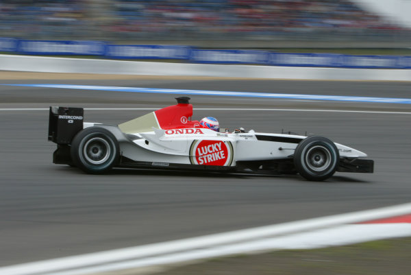 2003 European Grand Prix - Saturday Qualifying, Nurburgring, Germany.28th June 2003.Jenson Button, B-A-R Honda 005, action.World Copyright LAT Photographic.Digital Image Only.