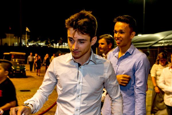 2016 GP2/3 Awards Evening. Yas Marina Circuit, Abu Dhabi, United Arab Emirates. Sunday 27 November 2016. Charles Leclerc (FRA, ART Grand Prix) and Alexander Albon (THA, ART Grand Prix)  Photo: Zak Mauger/GP2 Series Media Service/GP3 Series Media Service. ref: Digital Image _L0U2112