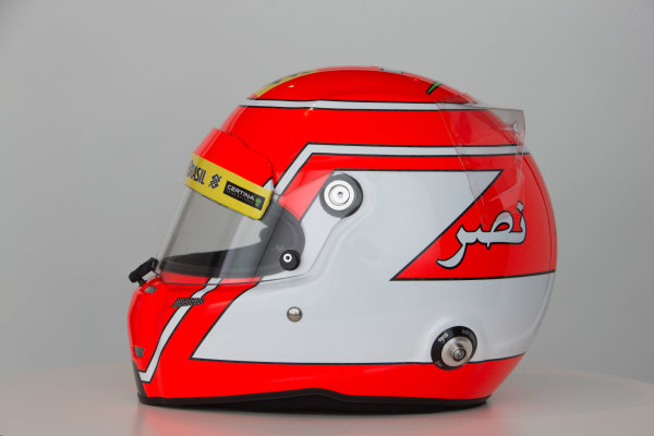 Hinwil, Switzerland. Thursday 29 January 2015. Helmet of Felipe Nasr, Sauber.  World Copyright: Sauber F1 Team (Copyright Free FOR EDITORIAL USE ONLY) ref: Digital Image 2015_SAUBER_HELMET_01