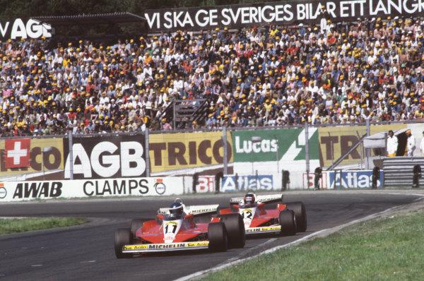 Anderstorp, Sweden. 15 - 17 June 1978.Carlos Reutemann (Ferrari 312T3), 10th position, leads Gilles Villeneuve (Ferrari 312T3), 9th position, action. World Copyright: LAT Photographic.Ref:  78SWE38.