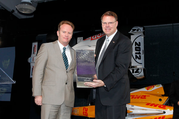 6 December, 2012, Indianapolis, Indiana, USA Jim Campbell with Manufacturers championship trophy.(c) 2012, Michael L. Levitt LAT Photo USA