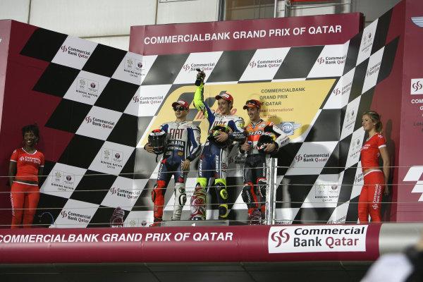 Losail International Circuit, Qatar.Round 1. 9th - 11th April 2010.MotoGP podium.World Copyright: Martin Heath/LAT Photographicref: Digital Image SE5K6785