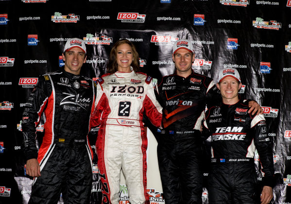 26-28 March, 2010, St. Petersburg, Florida, USAWilson, Power and Briscoe on the podium with the Izod Girl©2010, Michael L. Levitt, USALAT Photographic