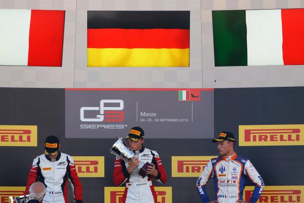 2015 GP3 Series Round 6. Autodromo di Monza, Italy. Sunday 6 September 2015. Marvin Kirchhofer (GER, ART Grand Prix), Esteban Ocon (FRA, ART Grand Prix) & Luca Ghiotto (ITA, Trident)  World Copyright: Sam Bloxham/LAT Photographic. ref: Digital Image _SBL3741