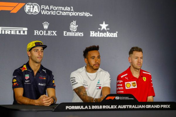 Daniel Ricciardo, Red Bull Racing, Lewis Hamilton, Mercedes AMG F1, and Sebastian Vettel, Ferrari in the Thursday press conference.