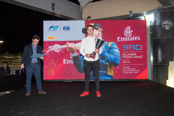 2017 Awards Evening. Yas Marina Circuit, Abu Dhabi, United Arab Emirates. Sunday 26 November 2017. Oliver Rowland (GBR, DAMS).  Photo: Zak Mauger/FIA Formula 2/GP3 Series. ref: Digital Image _X0W0198