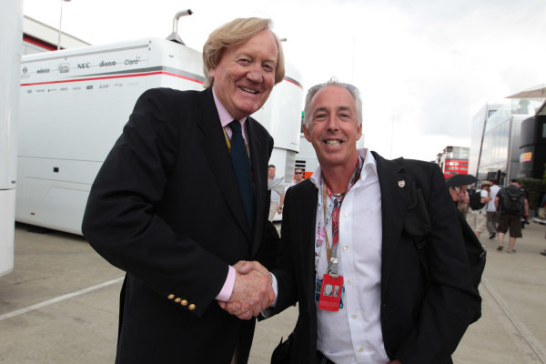 (L to R): Ron Walker (AUS) Chairman of the Australian GP Corporation and Keith Sutton (GBR) Sutton Images CEO. Formula One World Championship, Rd 9, British Grand Prix, Race Day, Silverstone, England, Sunday 10 July 2011.