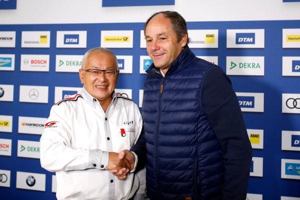 2017 DTM Round 9  Hockenheimring, Germany  Sunday 15 October 2017. Press Conference: Masaki Bando, Chairman GTA and Gerhard Berger, ITR Chairman  World Copyright: Alexander Trienitz/LAT Images ref: Digital Image 2017-DTM-HH2-AT1-0456