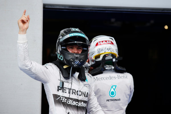 Red Bull Ring, Spielberg, Austria. Sunday 22 June 2014. Nico Rosberg, Mercedes AMG, celebrates his win in Parc Ferme. World Copyright: Charles Coates/LAT Photographic. ref: Digital Image _N7T5006