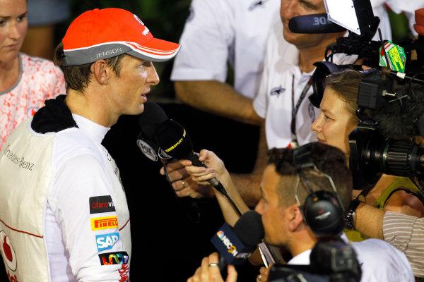 Marina Bay Circuit, Singapore. Saturday 21st September 2013.  Jenson Button, McLaren, talks to the media.  World Copyright: Jed Leicester/LAT Photographic. ref: Digital Image _JEL2770