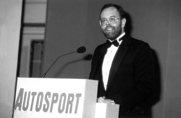 1990 Autosport Awards. Queen Elizabeth II Conference Centre, London, England. 13th December 1990. Peter Foubister welcomes the guests, portrait.  World Copyright: LAT Photographic Ref: B/W Print.