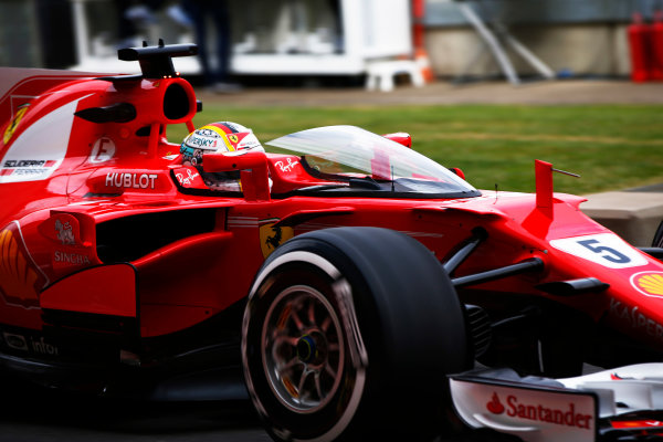 Silverstone, Northamptonshire, UK.  Friday 14 July 2017. Sebastian Vettel, Ferrari SF70H running with the shield attached. World Copyright: Hone/LAT Images  ref: Digital Image _ONY5528