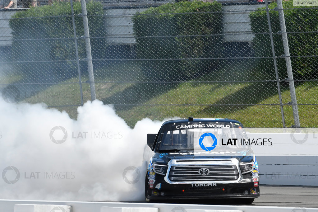 NASCAR Camping World Truck Series Overton?s 150 Pocono Raceway, Long Pond, PA USA Saturday 29 July 2017 Christopher Bell, SiriusXM Toyota Tundra, does a burnout after winning World Copyright: John K Harrelson LAT Images