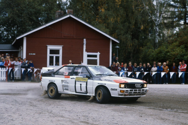 1000 Lakes Rally, Finland. 26-28 August 1983.Hannu Mikkola/Arne Hertz (Audi Quattro A2), 1st position, action.World Copyright: LAT Photographic.Ref: Colour Transparency.