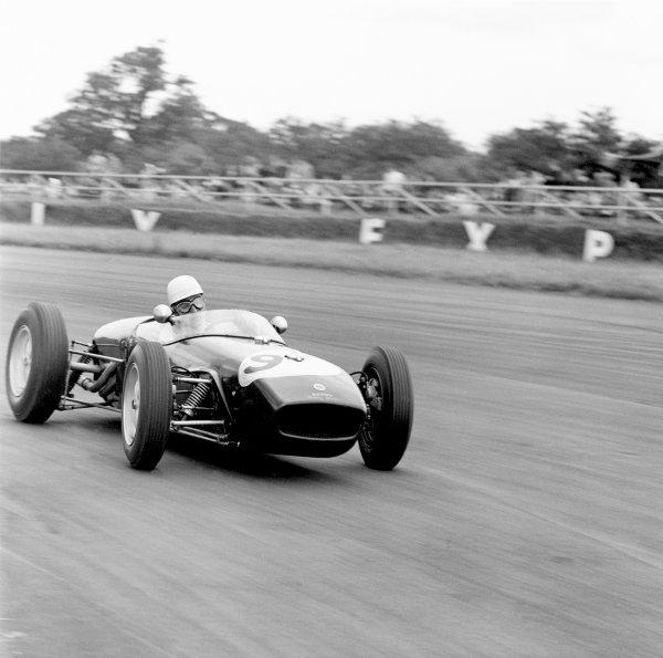 1960 British Grand Prix.Silverstone, Great Britain. 16 July 1960.John Surtees (Lotus 18-Climax), 2nd position. Ref-6980.World Copyright: LAT Photographic.