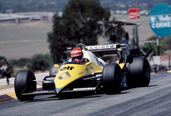 1983 South African Grand Prix.Kyalami, South Africa.13-15 October 1983.Eddie Cheever (Renault RE40) 6th position.Ref-83 SA 28.World Copyright - LAT Photographic