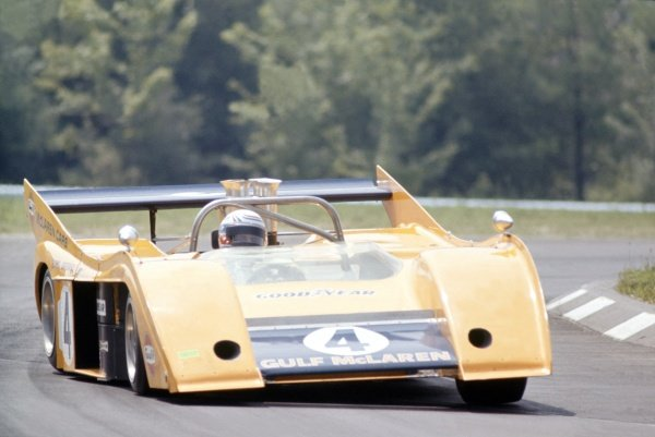 1972 Can-Am Challenge Cup.CanAm race. Watkins Glen, New York State, United States (USA). 23 July 1972.Peter Revson (McLaren M20-Chevrolet), 2nd position.World Copyright: LAT PhotographicRef: 35mm transparency 72CANAM31