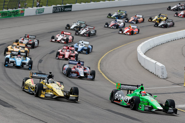 22-23 June, 2013,Newton, Iowa, USA James Hinchcliffe leads a re-start.(c) 2013, Perry Nelson LAT Photo USA