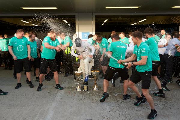 Sochi Autodrom, Sochi, Russia. Sunday 30 April 2017. Valtteri Bottas, Mercedes AMG, 1st Position, and the Mercedes team celebrate victory. World Copyright: Steve Etherington/LAT Images ref: Digital Image SNE18850