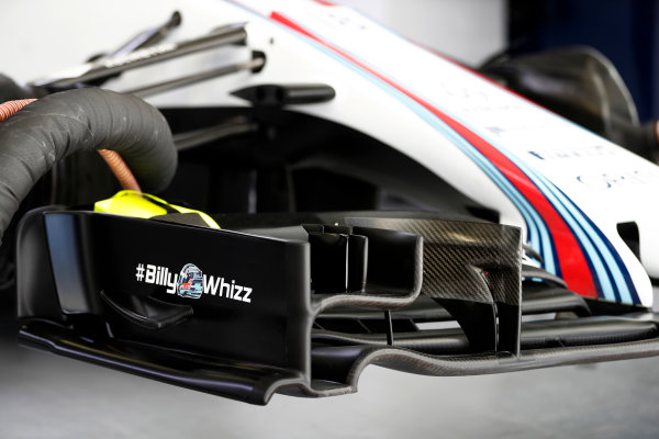 Sochi Autodrom, Sochi, Russia. Friday 28 April 2017. The Billy Whizz hashtag logo in support of recently injured F4 racer Billy Monger, as seen on the Williams front wing. World Copyright: Glenn Dunbar/LAT Images ref: Digital Image _31I8083