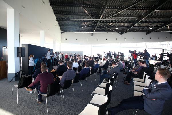 Mercedes F1 W08 Formula 1 Launch. Silverstone, Northampton, UK. Thursday 23 February 2017. Valtteri Bottas, Mercedes AMG, talks to Bradley Lord, Head of Mercedes-Benz Motorsport Communications, in front of assembled media. World Copyright: Hoyer/Ebrey/LAT Images Ref: MDH19111