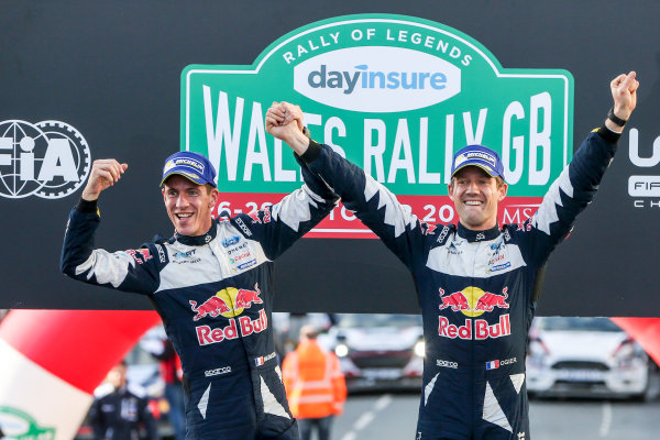 2017 FIA World Rally Championship, Round 12, Wales Rally GB, 26-29 October, 2017, Sébastien Ogier, Julien Ingrassia, Ford, podium, Worldwide Copyright: LAT/McKlein