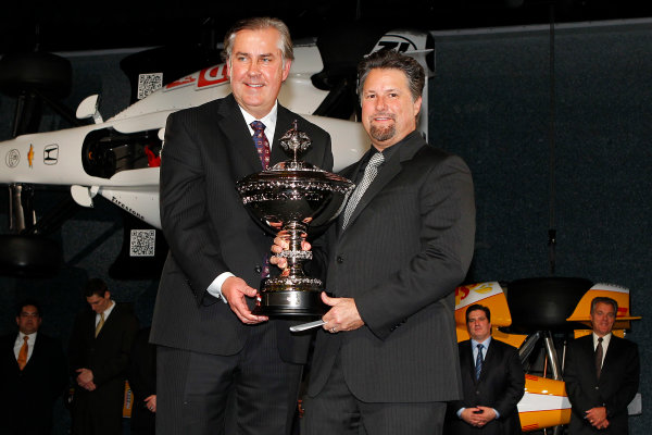 6 December, 2012, Indianapolis, Indiana USA Michael Andretti is presented with the Astor Cup by IndyCar CEO Jeff Belskus.(c)2012, Russell LaBounty LAT Photo USA .