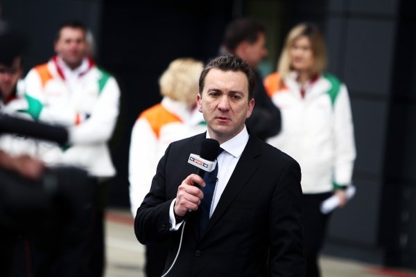 Craig Slater (GBR) Sky Sports News Reporter. Sahara Force India VJM05 Unveil, Silverstone, England, Friday 3 February 2012.