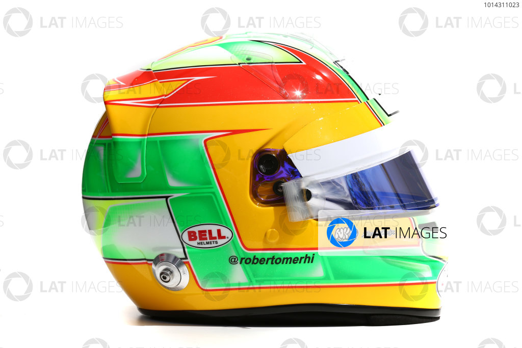 Albert Park, Melbourne, Australia. Helmet of Roberto Merhi, Manor Marussia F1.  Thursday 12 March 2015. World Copyright: LAT Photographic. ref: Digital Image 2015_Helmet_051