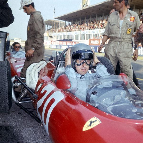 1966 French Grand Prix. Reims, France. 1-3 July 1966. Lorenzo Bandini (Ferrari 312). Ref-2319. World Copyright - LAT Photographic