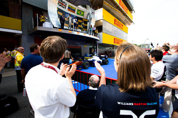 2014 GP2 Series Round 2 - Race 1. Circuit de Catalunya, Barcelona, Spain. Saturday 10 May 2014. Frank and Claire Williams watch the GP2 podium Photo: Malcolm Griffiths/GP2 Series Media Service. ref: Digital Image F80P2166