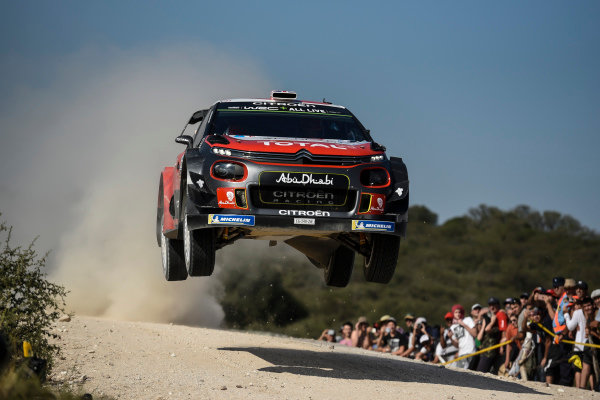 Kris Meeke performs over one of the many jumps on Rally Argentina