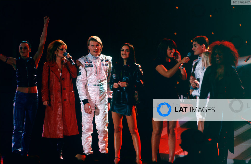 Alexandra Palace, London, England. 13th February 1997.Mika Hakkinen and David Coulthard with the Spice Girls as davina McCall compares, portrait. World Copyright: LAT Photographic.Ref:  Colour Transparency