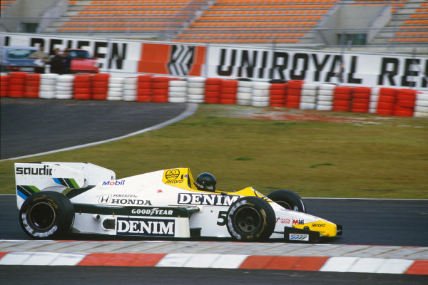 Nurburgring, Germany. 5th - 7th October 1984.Jacques Laffite (Williams FW09B-Honda), retired, action. World Copyright: LAT Photographic.Ref:  84EUR