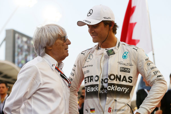 Bahrain International Circuit, Sakhir, Bahrain. Sunday 19 April 2015. Bernie Ecclestone, CEO and President, FOM, with Nico Rosberg, Mercedes AMG. World Copyright: Steven Tee/LAT Photographic. ref: Digital Image _L4R0908
